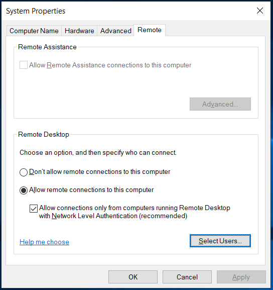 select user and allow remote connections to Windows computer
