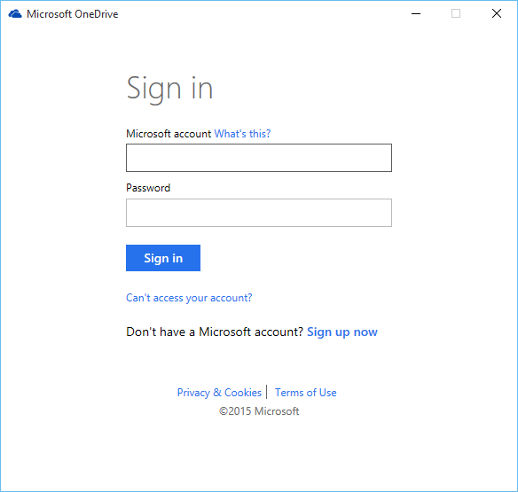 Microsoft account for OneDrive