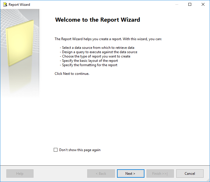 Report Wizard to create reports for SQL Server 2016 Reporting Services