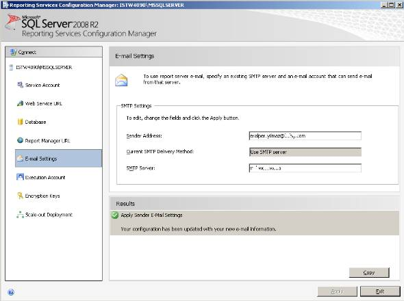 configure E-mail Settings for SQL Server Reporting Services 2008 R2