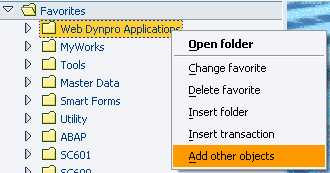 add Other Objects in SAP Favorites menu