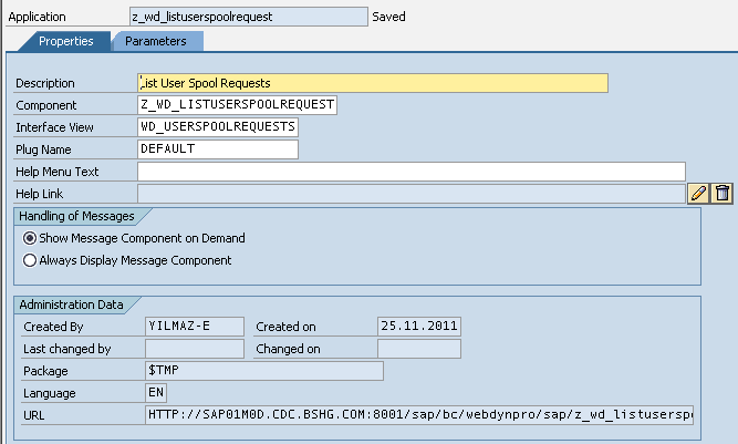 Web Dynpro application properties and URL address