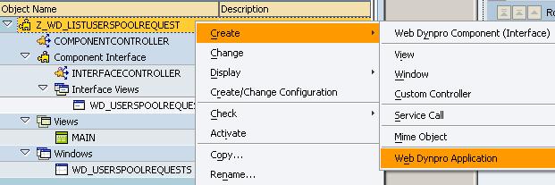 create Web Dynpro application