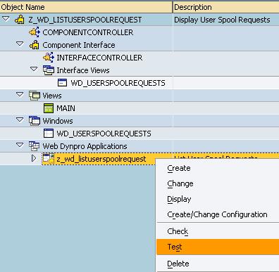start test of Web Dynpro application in SE80 screen