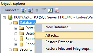 Attach database Adventureworks as sample database in SQL Server 2012