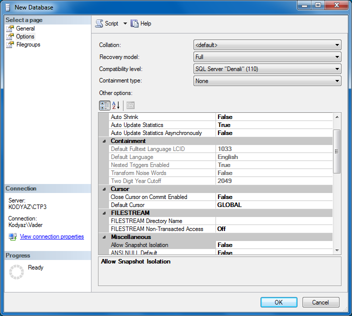new database options in SQL Server 2012 Denali CTP3