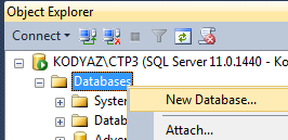 SQL Server Management Studio Object Explorer window New Database task