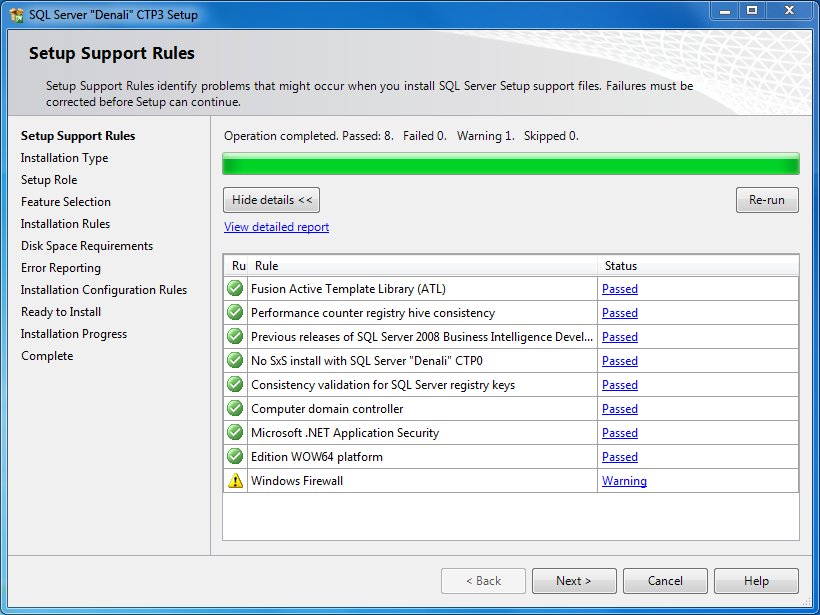 SQL Server Setup Support Rules check