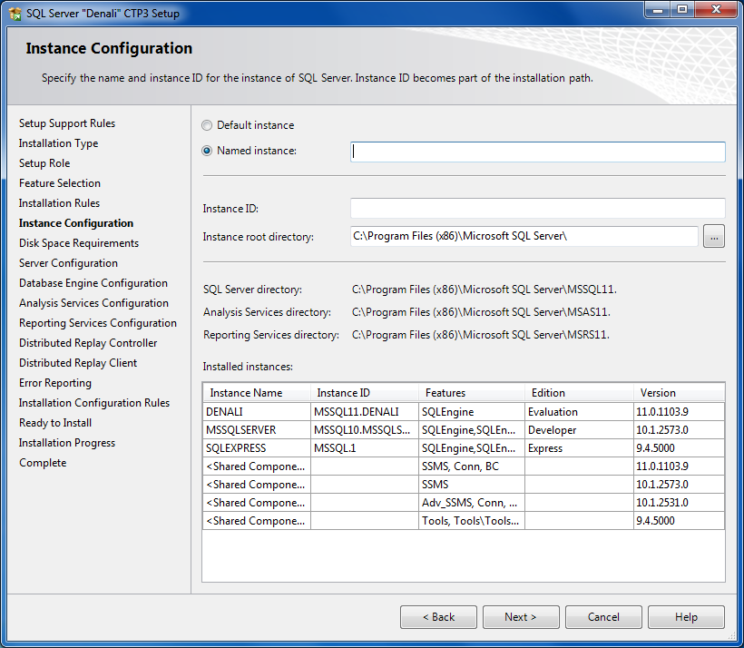 SQL Server Installation Center SQL11 instance configuration