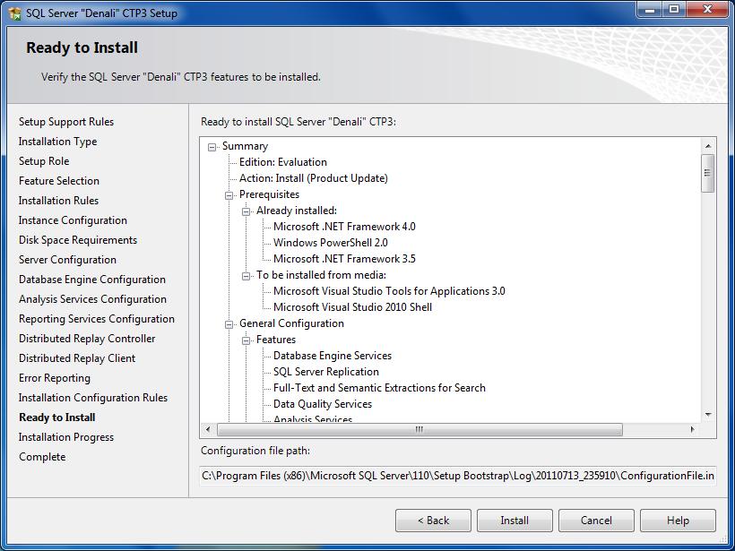 Ready to install SQL Server 12