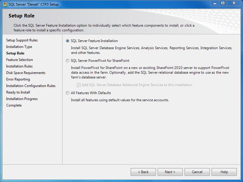 SQL Server 2012 Setup Roles