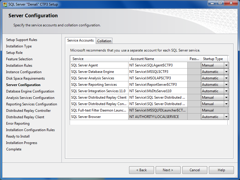 SQL Server service accounts configuration
