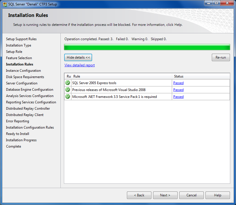 SQL Server Setup - Installation Rules check