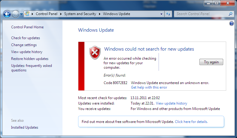 Windows Update Service error in SQL Server 2012 installation