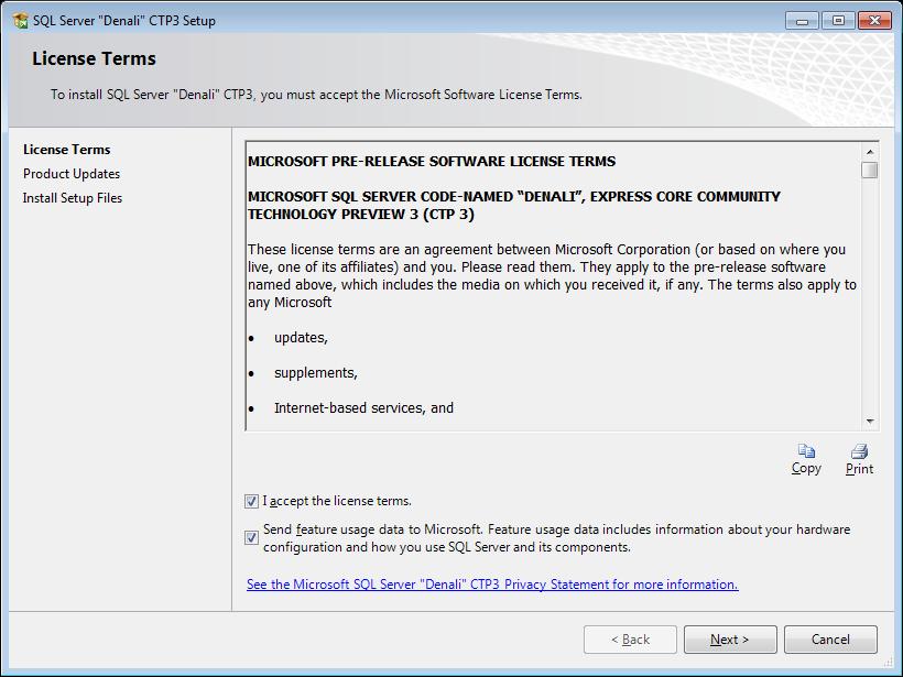 SQL Server 2012 Express License Terms