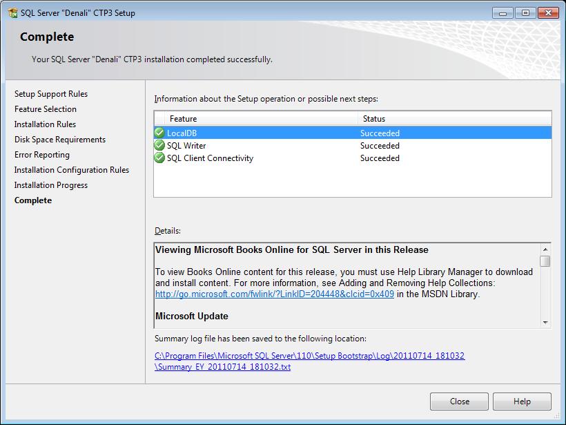 SQL Server 12 installation completed