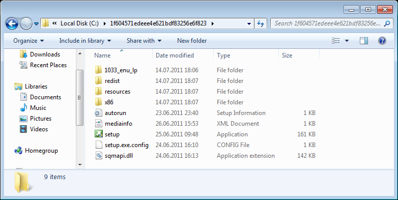 extracted setup file list for SQL Server 2012 Express