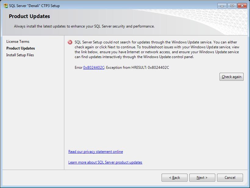 product updates through Windows Update failure