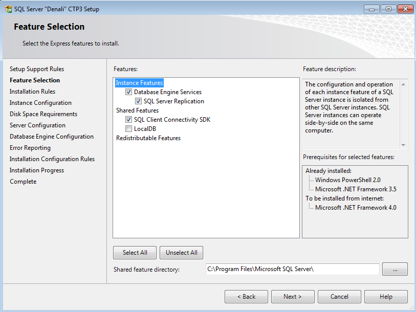 SQL Server 2012 Express installation feature selection