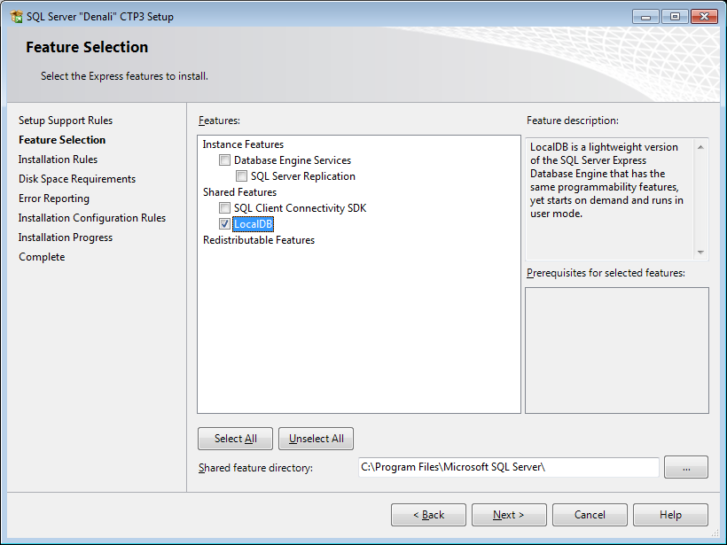select LocalDB as SQL Server 2011 Express installation