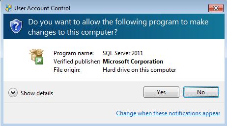 UAC for SQL Server setup