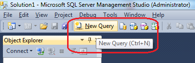 New Query button for DAC connection in SQL Server SSMS