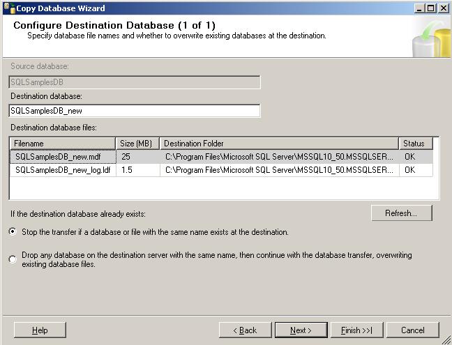 Configure destination database for Copy Database wizard