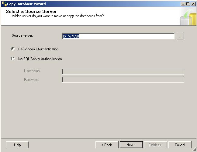 Choose source SQL Server for copy or move database
