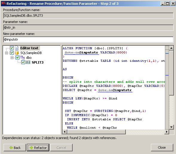 rename parameter name in sql function with refactoring tool