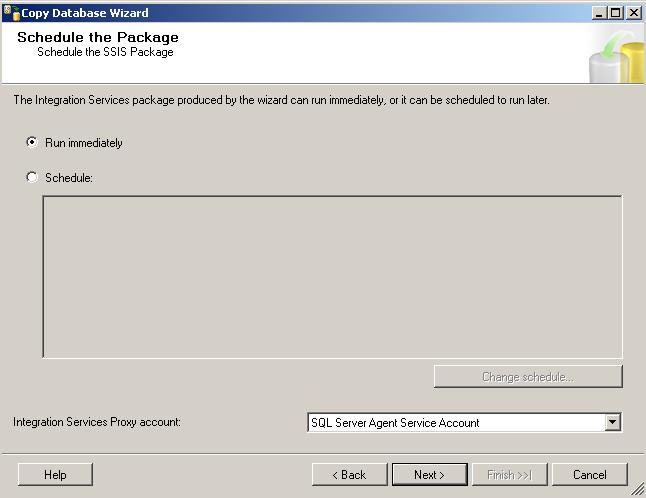 Run immediately sql Copy Database task