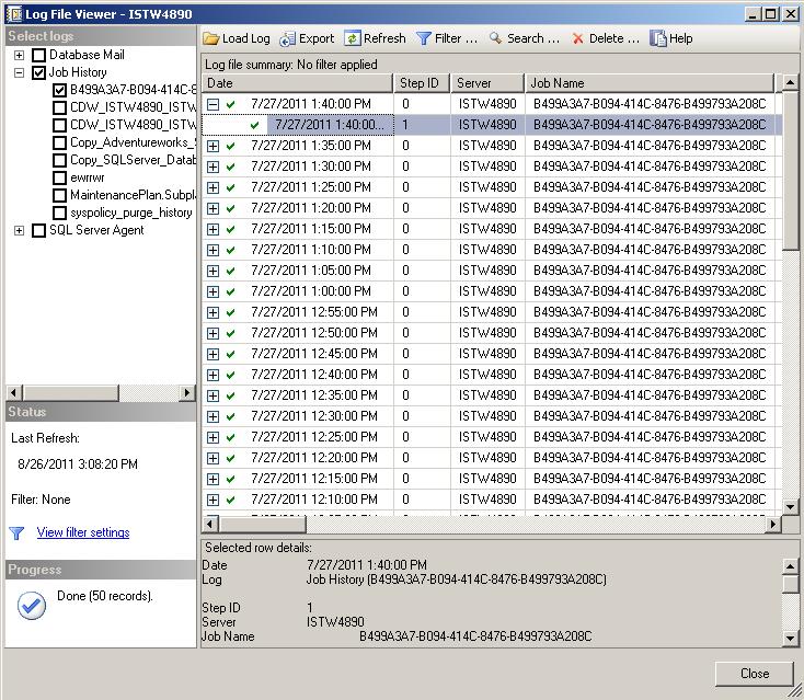 SQL Server Log File Viewer for job history
