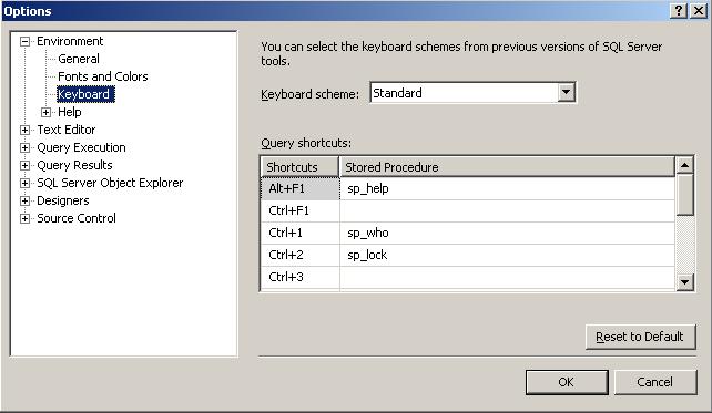 SQL Server Management Studio Options for keyboard shortcuts