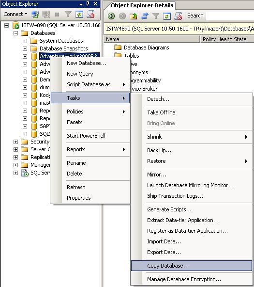 Copy database using SQL Server Management Studio