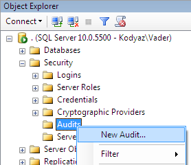create new audit in SQL Server Management Studio