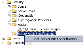 create new SQL Server Audit Specification