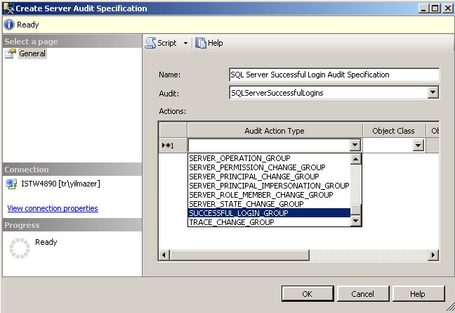 create SQL Server Audit Specification for successful login