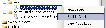 enable Audit in SQL Server Management Studio