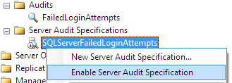 Enable failed_login_group Audit Specification
