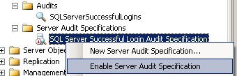 enable Server Audit Specification in SSMS