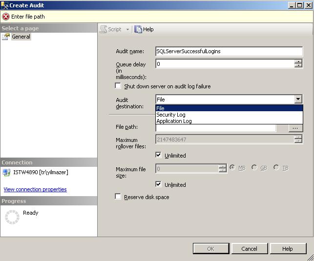Log successful sql logins using SQL Server Audit tool