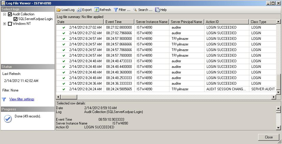 Display successfull login audit logs
