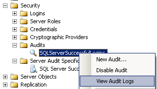 view Audit logs in SQL Server 2008
