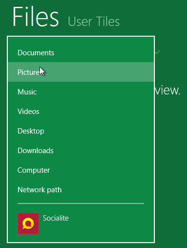 browse for Windows 8 user tile