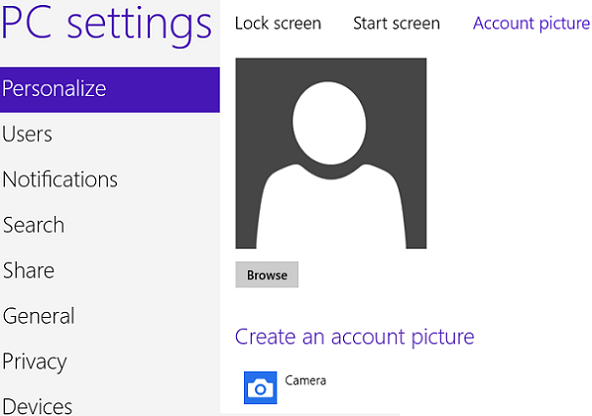 how to change user tile in Windows 8