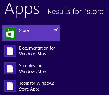 search results for Store app on Windows 8 PC