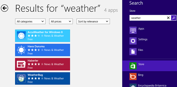 Search Windows 8 Store for weather apps using Search Charm