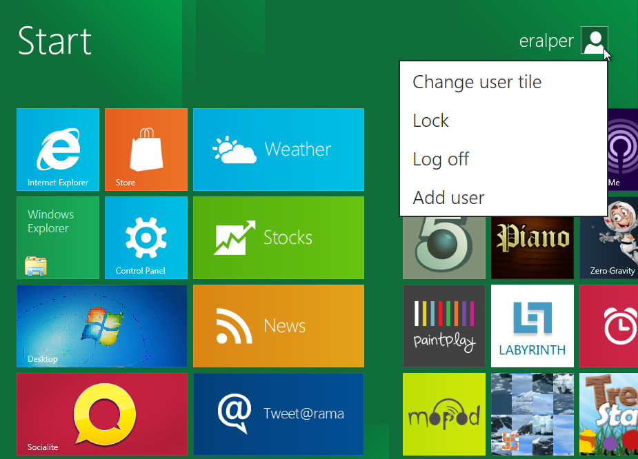 Windows 8 screenshots application background showing user account picture